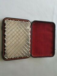 Stunning Antique Hm Silver Card Case Engine Turned Frederick Marson 1886