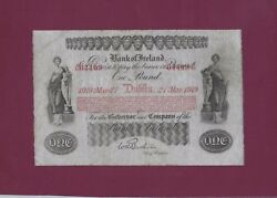 Ireland Bank Of Ireland 1 Pound 1919 P-A35 Fine +  RARE UK GREAT BRITAIN