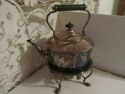 Antique Silver Kettle With Sterno Warmer 1906-1930 English Made Bakelite Handle