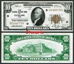 Fr. 1860-d Series Of 1929 10 The Federal Reserve Bank Of Cleveland Ohio Aunc+