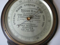 19th c antique Harry Hall tailor shop Oxford St London BAROMETER vtg thermometer