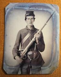 Civil War Union Soldier With Musket Revolver And Bowie Knife Rp Tintype C1164rp