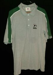 Nfl Men's Green Packers Gray With Logo Cotton Polo Shirt Large Cheese Head