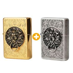 Zippo Lion Gate Gold + Silver Lighters Org Packing 6 Flints Set Free Gift