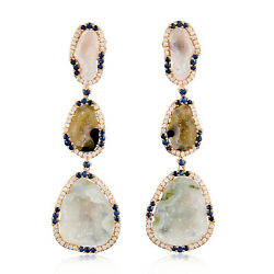Solid 18k Rose Gold 0.87ct Pave Diamond Blue Sapphire Geode Earrings For Women