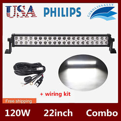 22inch 120w Led Light Bar S/f Combo With Wiring Harness For Jeep Truck 6000k