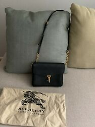 100% Authentic Burberry crossbody bag black leather gold chain strop. $349.99