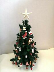 Vintage Christmas Tree Table Top With Miniature Ornaments Star Topper 14 Tall