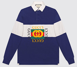 Mens Rugby L/s Blue White Oversize Cotton Polo Logo Long Sleeve T Shirt L