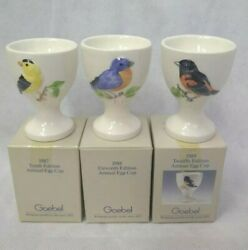 Goebel Egg Cup Gold Finch 1987 Blue Bird 1988 Baltimore Oriole 1989 Annuals