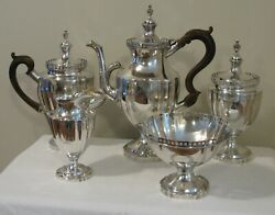 EARLY AMERICAN COIN SILVER TEACOFFEE SERVICE by ROBERT SWAN PHILA. C.1790