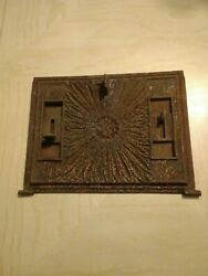 Vintage Cast Iron Wood Stove Furnace Cover Ornate Rust Metal Detailed Decorative