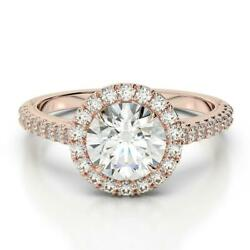 BEST CHOICE 1.65 CT D SI1 ROUND DIAMOND 14 K RED ROSE GOLD RING W ACCENTS