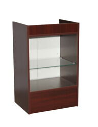 Cherry Wood Veneer Glass Front Register Check Out Stand With Rear Sliding Doors