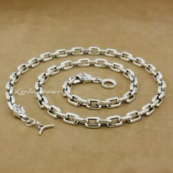 Handmade 925 Sterling Silver Square Link Chain Mens Biker Wolf Necklace 8g012nd