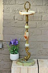 Vintage French Onyx Marble Dolphin Ashtray Stand