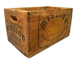 Early 20th C Vint Mission Orange Beverages Wooden Box Soda Crate W/stamped Ink