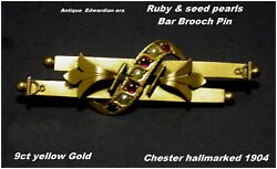 Antique Ruby And Seed Pearl Brooch Pin 9ct Gold Chester Hm C1904 Edwardian