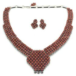 Beautiful Navajo Handmade Sterling Silver Coral Necklace Set - Alice Lister