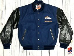 Broncos G-iii And Carl Banks Wool Leather Sz Large L Vintage Deadstock Jacket New
