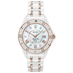 Bulova Marine Star Mother Of Pearl Crystal Dial Ladies Two Tone Watch 98r241