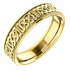 Mens Wedding Band Size 11 - 6.0mm Wide Celtic Inspired 14k Yellow Gold Ring