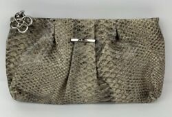 Stella amp; Dot NWT La Coco Leather Clutch Gray Snakeskin Gift Evening Bag Party $17.88