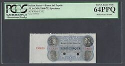 Italy Banca Popolo 5 Lire Nd1866-71 Pick Unlisted Specimen Uncirculated