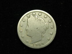 Old U.s. Semi Key Date F+ 1888 Liberty V Nickel In Collectible Condition 213v