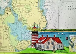 West Quoddy Head Lighthouse Art Print Lubec Maine Me Poster Map Park Downeast