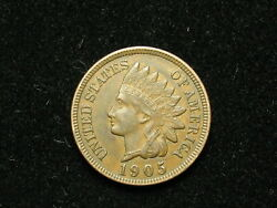 Must Go Sale Au 1905 Indian Head Cent Penny W/ Full Liberty And Diamonds 297v