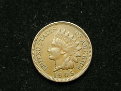 Must Go Sale Au 1905 Indian Head Cent Penny W/ Full Liberty And Diamonds 298v