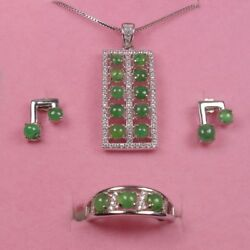 925 Silver Certified A 100 Natural Green Jadeite Jade Jewelry Sets Ring Pendant