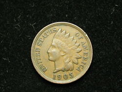 Must Go Sale Au 1905 Indian Head Cent Penny W/ Full Liberty And Diamonds 299v