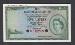 Mauritius 5 Rupees Nd 1954 P27ct Color Trial Uncirculated