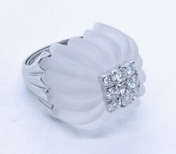 Exceptional 1960and039s White Quartz 18 Kt Gold Cocktail Ring With 1.45 Cts Diamonds