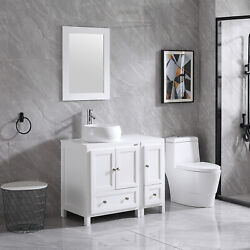 36and039and039 Bathroom Vanity Cabinet White Ceramic Vessel Sink With Faucet Drain Mirror