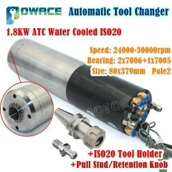 Automatic Tool Changer Atc 1.8kw Water Cooling Cnc Spindle Motor Iso20,220v,80mm