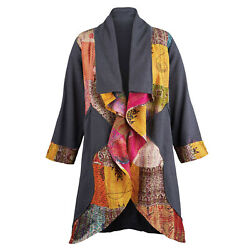 Apt Designs Women's Open Front Jacket - Charcoal Fleece & Gold Kantha Embroidery