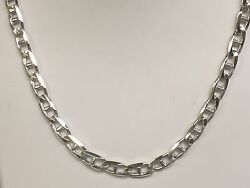 14k Solid White Gold Anchor Mariner Chain/necklace 4 Mm 33 Grams 26