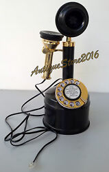 Vintage Look Solid Brass Candle Stick Telephone Working Black Best Gift