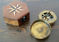 Lot Of 100 Pcs Antique Vintage Brass Pocket Sundial Compass W/ Wood Box Camping