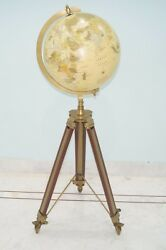 Collectibles Home Decorative Antique World Globe With Tripod Stand Nautical Item