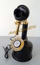 Nautical Vintage Look Brass Candle Stick Telephone Rotary Phone Best Gift