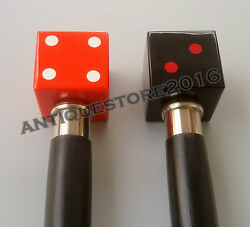 Antique Red And Black Dice Handle Walking Set Of Two Sticks Designer Style Gift