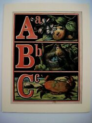 1800and039s Colored Litho Of The Letters Abc And Mounted In A Border