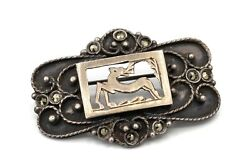 Antique 1930s Art Deco 800 Silver Reindeer Brooch Pin Grand Tour Europe Jewelry