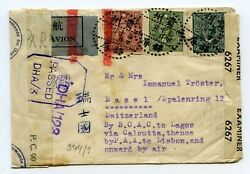 China Wwii Multi-censored Airmail Cover Kinping Kweichow To Switzerland By Boac