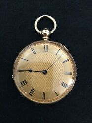 Fine Antique H. Nathan And Co Geneve 18k Solid Gold Key Wind Pocket Watch Ca 1860.
