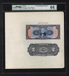 Brazil Face And Back 2 Mils Reis August 1918 P14p Proof Uncirculated